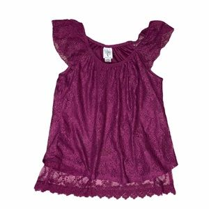 Size small Lace burgundy red top